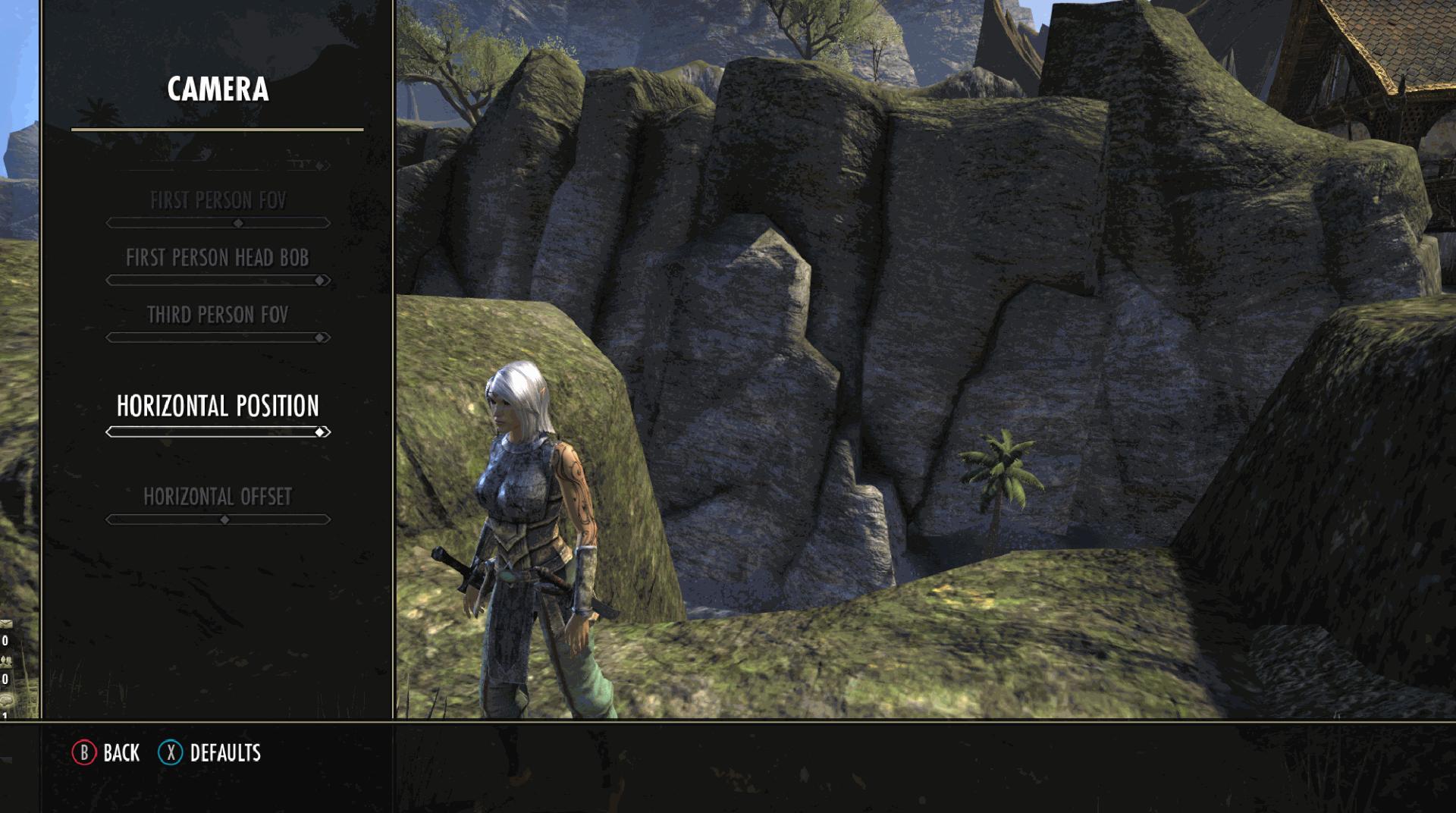 Elder Scrolls Online: Greymoor Camera Settings Menu