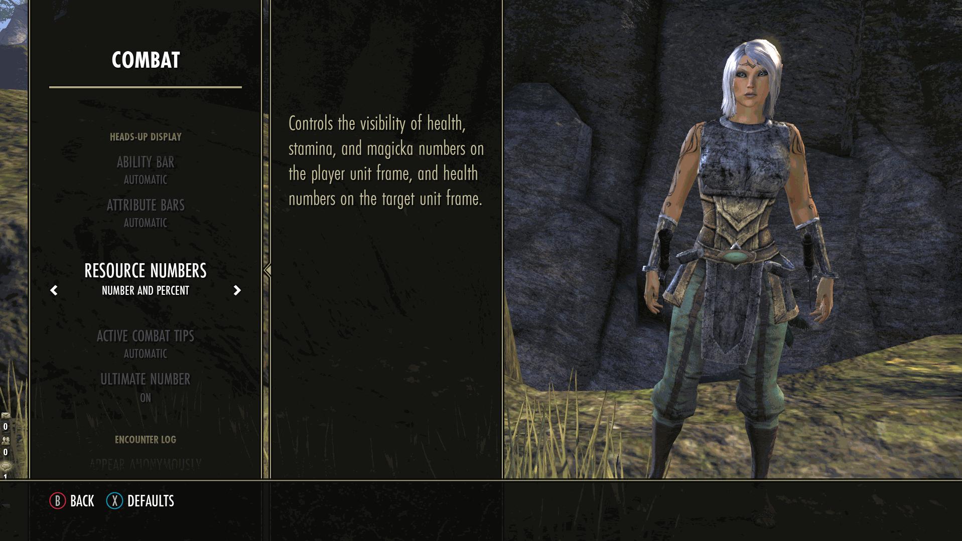 Elder Scrolls Online: Greymoor Combat Settings Menu