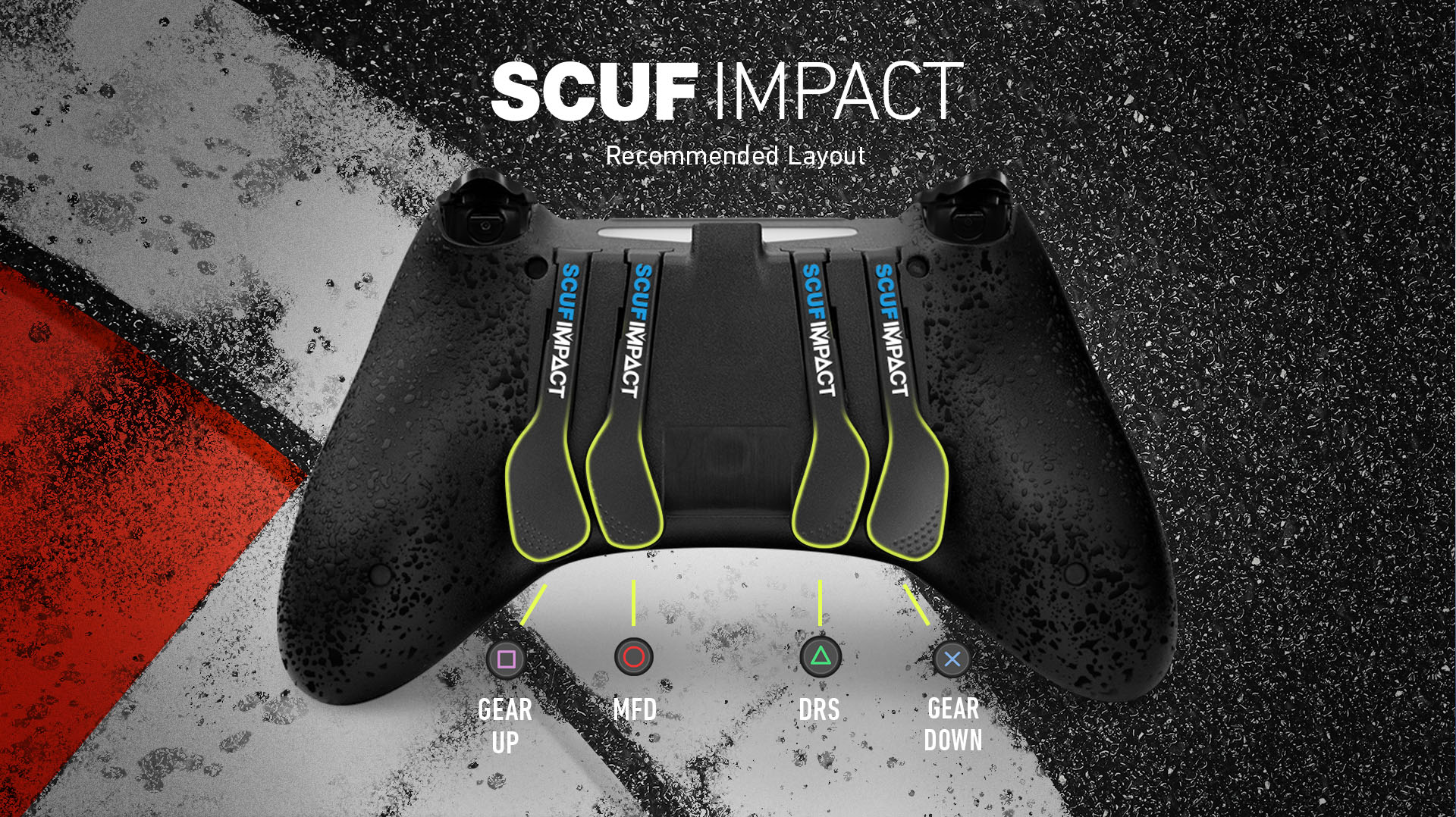 SCUF IMPACT F1 2019 PS4 Controller Layout