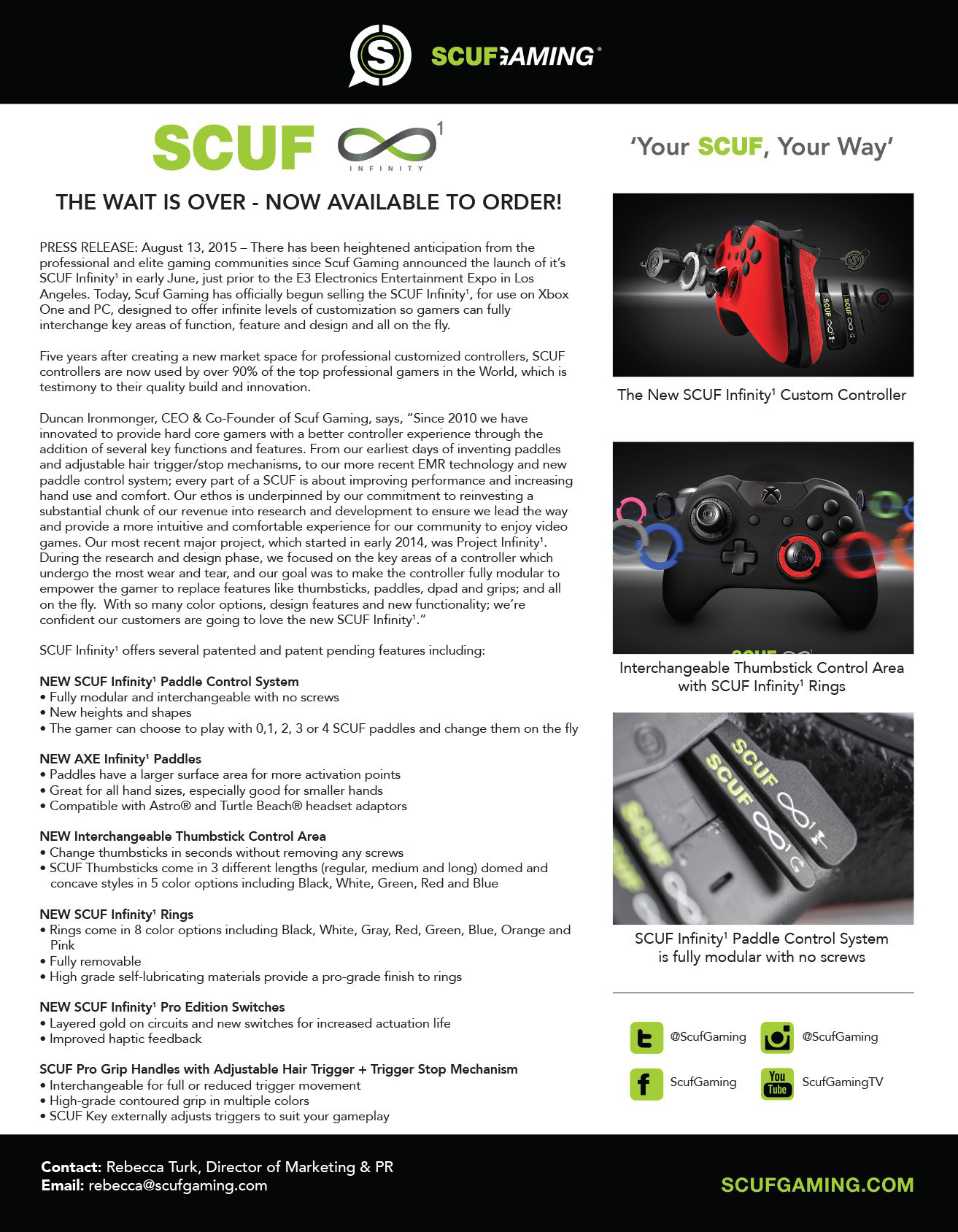 SCUF Infinity One Press Release