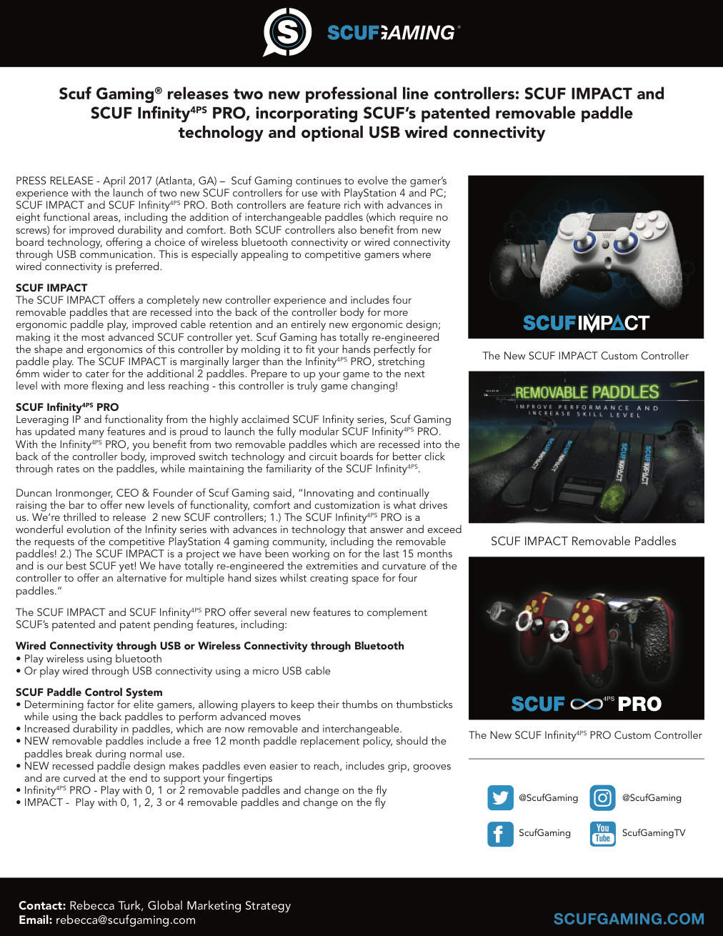SCUF Infinity 4PS Pro Press Release