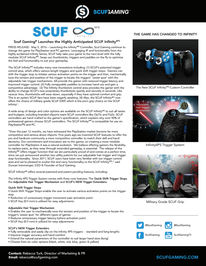 SCUF Infinity4PS press release