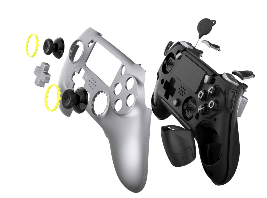 Exploded front view of the controller with its pieces extended out in front of the shell