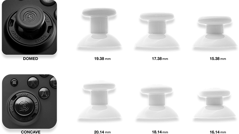 custom thumbstick height size chart | Scuf Gaming
