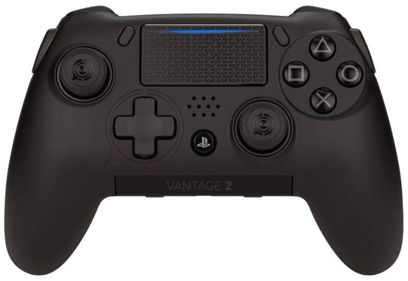 Front view of a black Vantage 2 controller